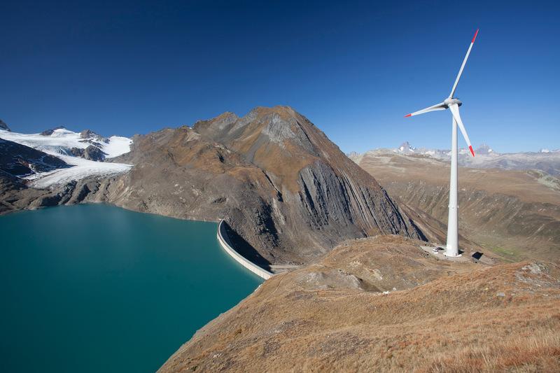 Highest located wind turbine facilty of Switzerland Nufenen, Valais