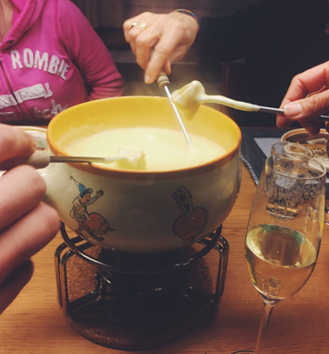 eating Fondue