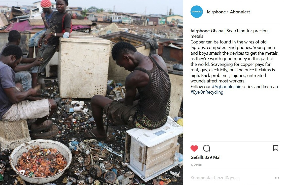 Instagram post from Fairphone concerning their latest project.