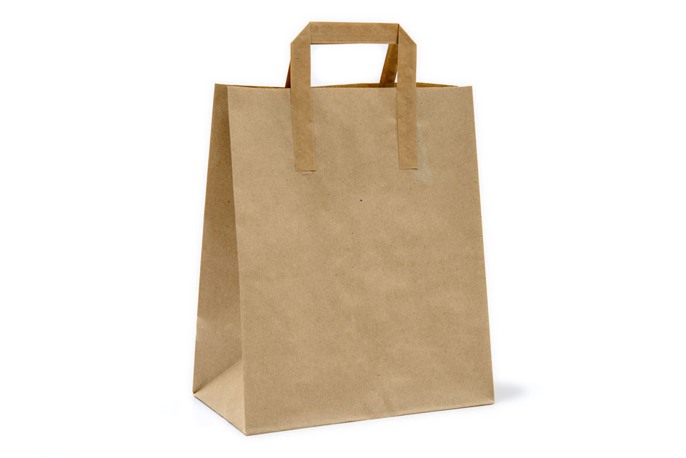 Paperbag (biologically degradable, needs twice as much energy as to produce plastic bags, a lot of environmental damaging chemicals)