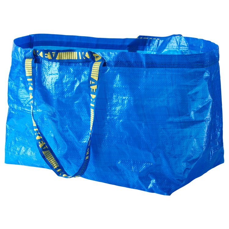 Synthetic Material Bag made out of Polypropylen (less poisonous substances, needs less water, needs a lot of Mineral oil)