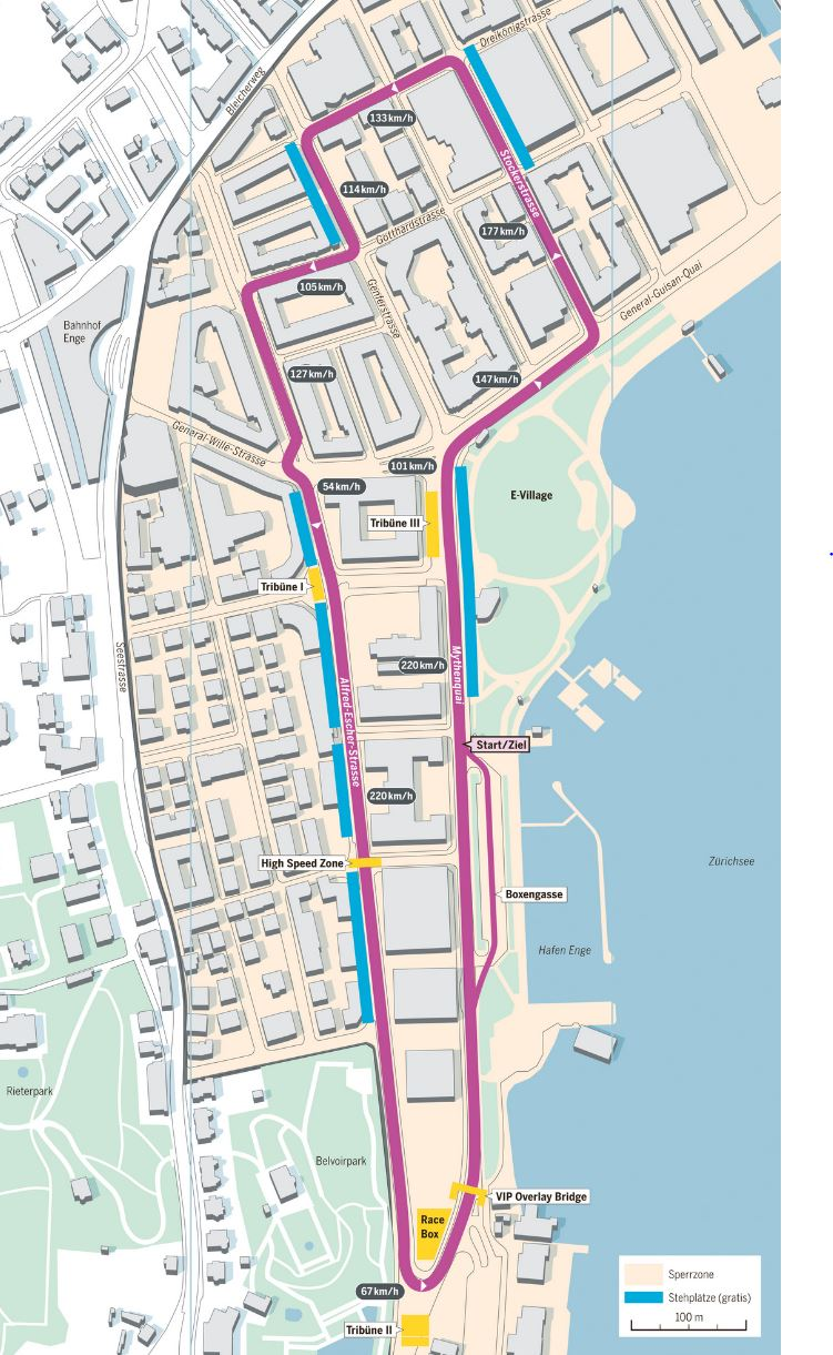 Map of the race track (Rennstrecke), tagesanzeiger.ch