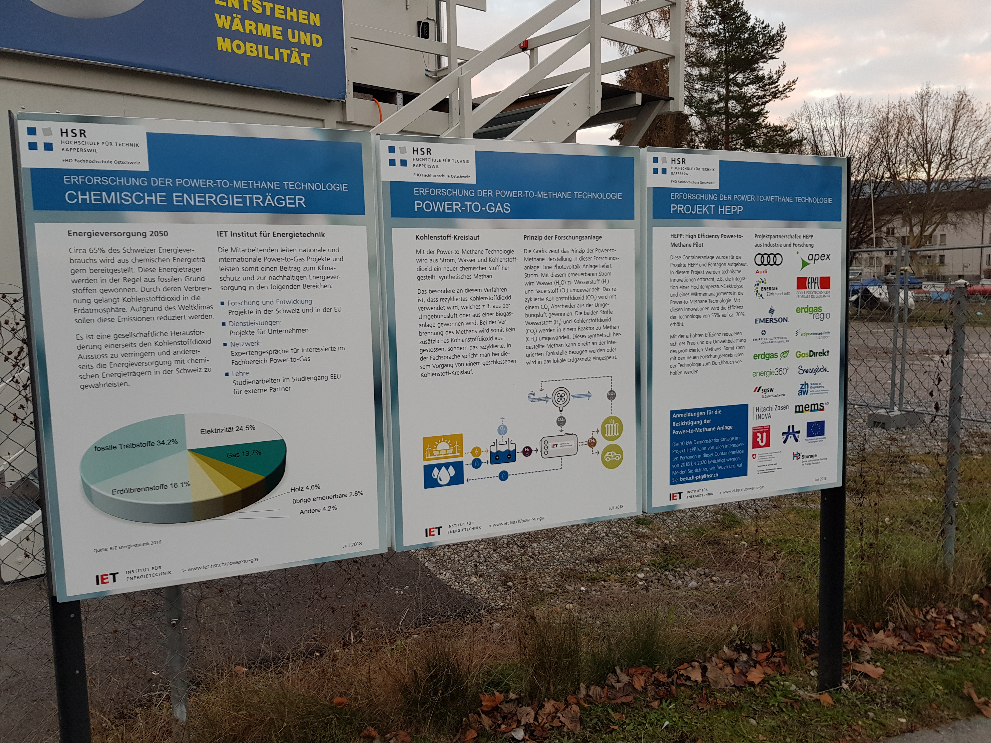 Information board at the power-to-gas engine