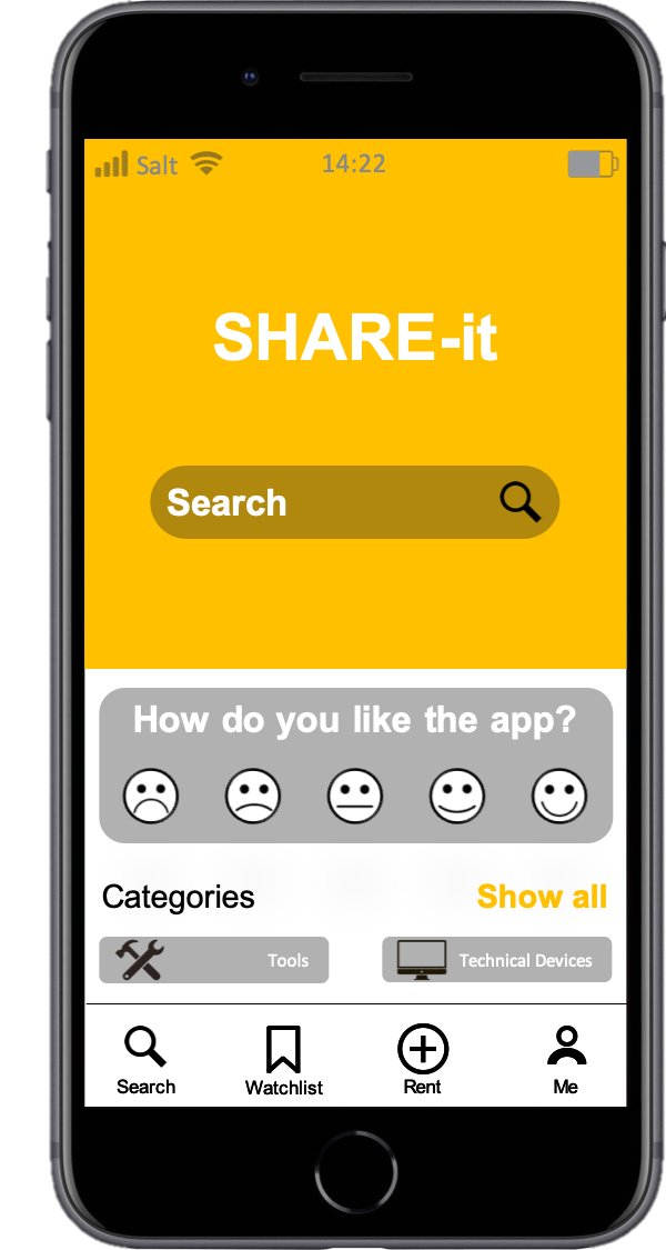Homepage of the app SHARE-it