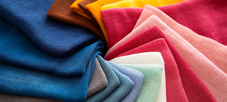 Textiles in different colours